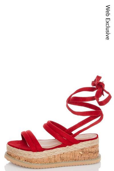 Red Tie Up Flatforms